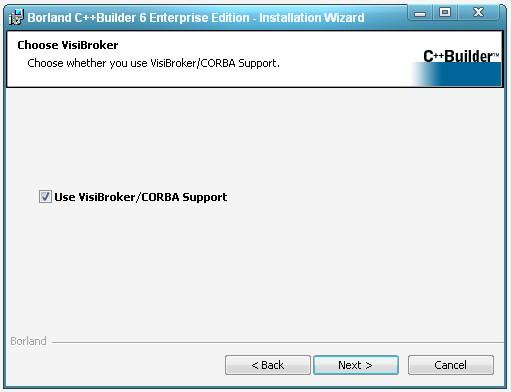 Окно запроса на установку компонента CORBA