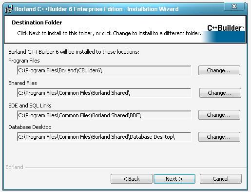 Окно назначения каталогов для установки пакета