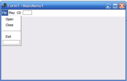 Окно редактора меню