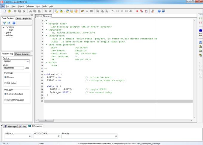 Главное окно среды разработки mikroC