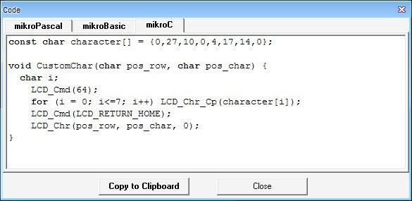Окно с примером кода для ЖК-индикаторов