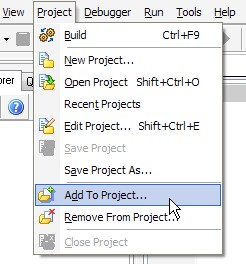 Project -> Add to Project