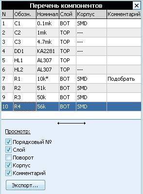 Перечень компонентов