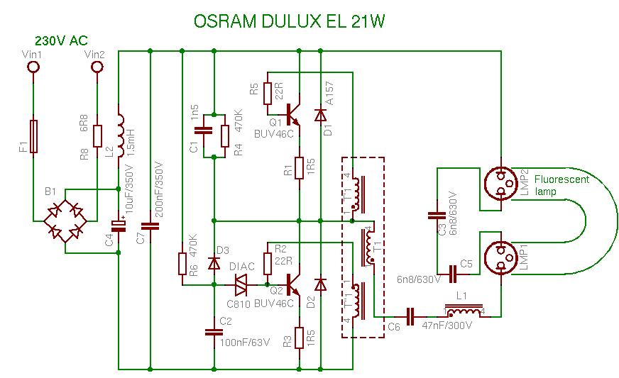 Schema OSRAM DULUX EL 21W