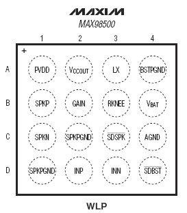 Расположение выводов MAX98500