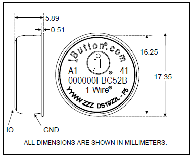 Расположение выводов DS1922L/T