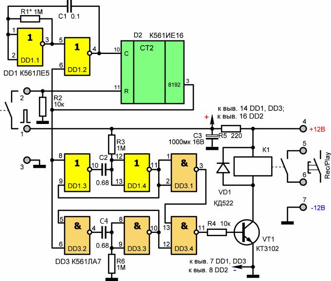 Схема подключения видеорегистратора в охранной системе