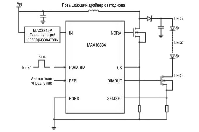 Драйвер светодиодов МАХ16834 и повышающий преобразователь МАХ8815А