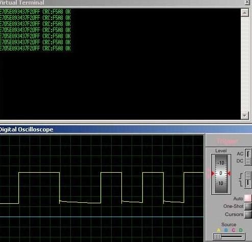 Дамп передачи транспондера на экране виртуального  осцилографа