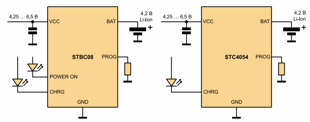 схемы включения микросхем STBC08 и STC4054