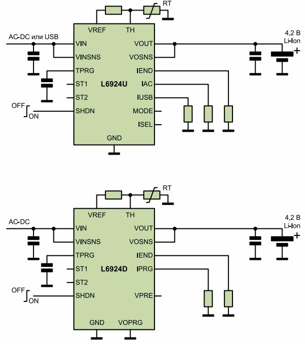 схемы подключения микросхем L6924D и L6924U