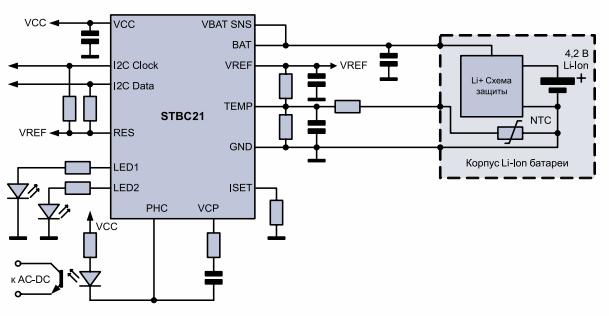 рекомендуемая схема включения STBC21
