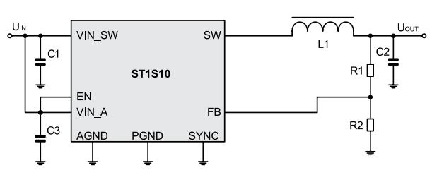 типовая схема включения микросхемы ST1S10