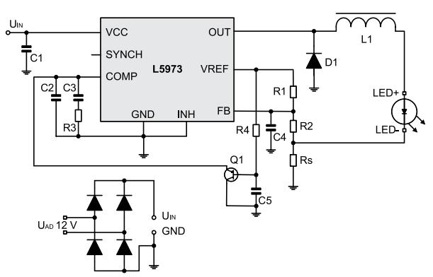 вариант использования микросхемы l5973AD в качестве основы драйвера для мощных  светодиодов