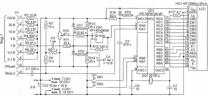 Схема карманного осциллографа