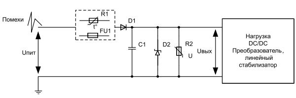 Схема защиты на дискретных компонентах