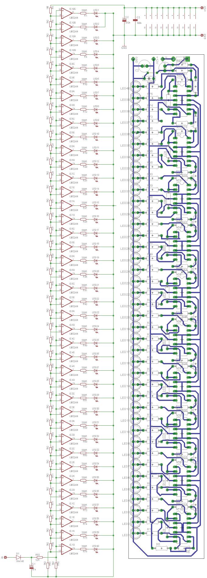 Схем и плата индикатора уровня на 40 светодиодов