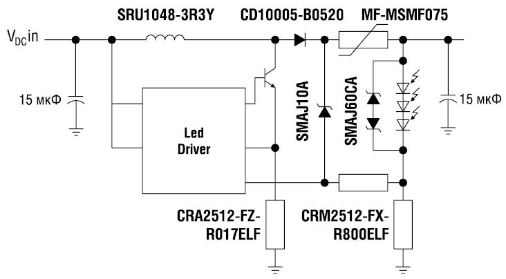 Рис. 6. Применение компонентов производства компании Bourns для светодиодных решений