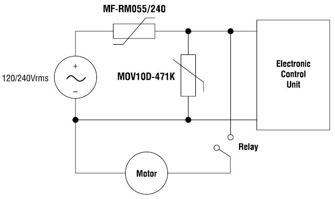 Рис. 7. Применение компонентов Bourns для защиты устройств, подключаемых к однофазной сети переменного тока