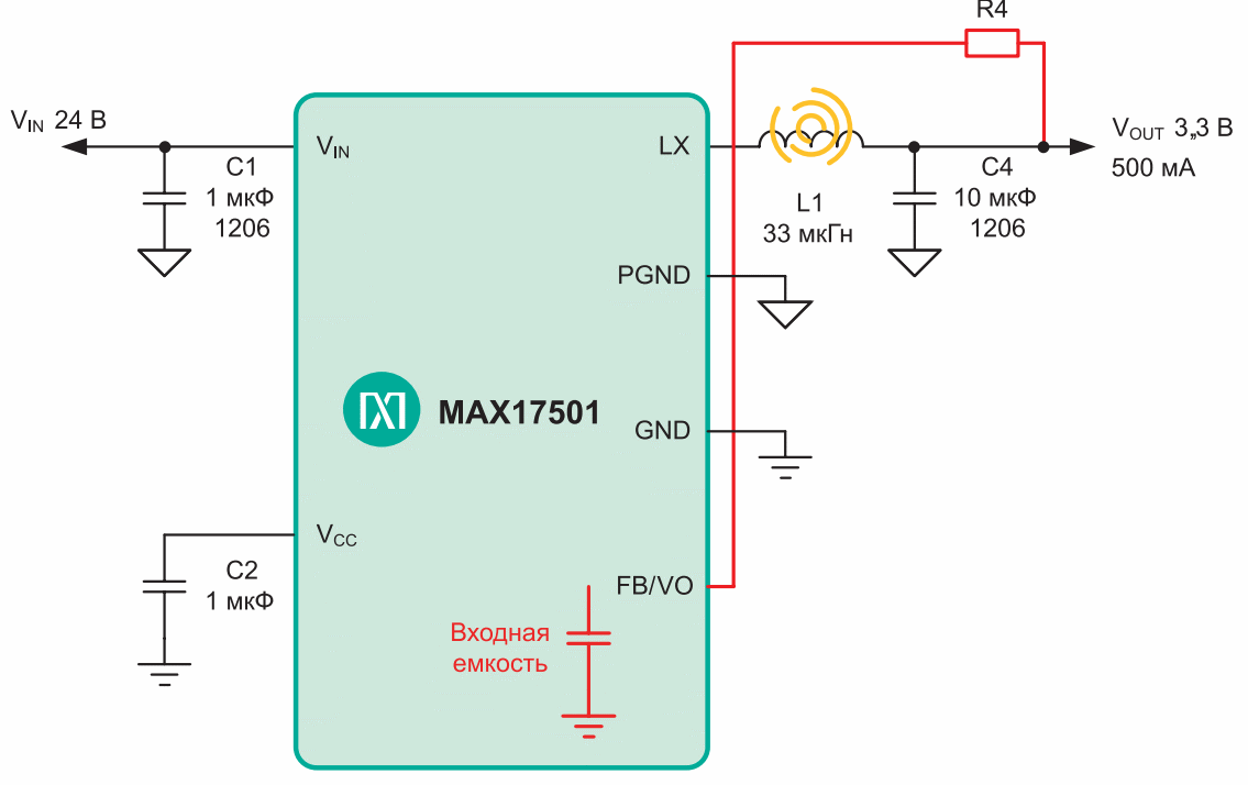 Резистор R4 размещен вблизи выхода источника питания, длинная печатная дорожка к выводу обратной связи (FB/V0) работает как антенна