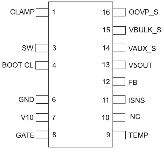 16-выводной корпус S0IC, на котором ножки 2 и 5 были удалены