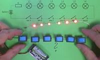 6 светодиодов и 6 выключателей.